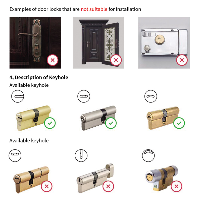 Image 5 - 2018 New Sherlock S2 Electronic Intelligent Door Lock Smart Lock IOS/Android APP Control Home Keyless Lock-in Electric Lock from Security & Protection