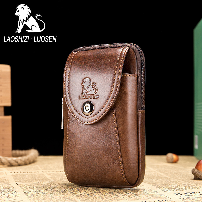 LAOSHIZI LUOSEN midja väska Mäns äkta läder Fanny packs casual - Bälten väskor - Foto 1