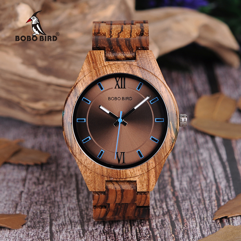 BOBO BIRD Wood Men Watch erkek kol saati Fashion Luxury Design Watches Women Wooden and Agate Inlay Case relogio masculino V-Q05(China)