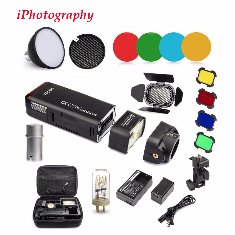 Godox AD200 2.4G TTL Flash 1/8000 HSS Monolight for Nikon Canon Sony+AD-S2 Standard Reflector+AD-S11 Color Filter Gel Pack Kit godox ad200 200ws 2 4g ttl flash 1 8000 hss monolight for nikon for canon for sony