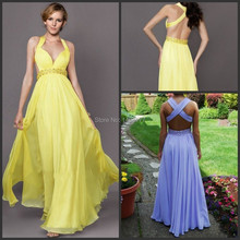 2014 New Fashion Prom Gowns Sexy low Cut Cross Back Beaded Waistline Chiffon Yellow And Purple Lilac Backless Dresses