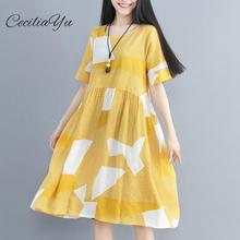 Cotton And Hemp Womens Wear In The Summer Of 2019 Dress New Retro Printing VIntage Short Sleeve Woman Ceciliayu