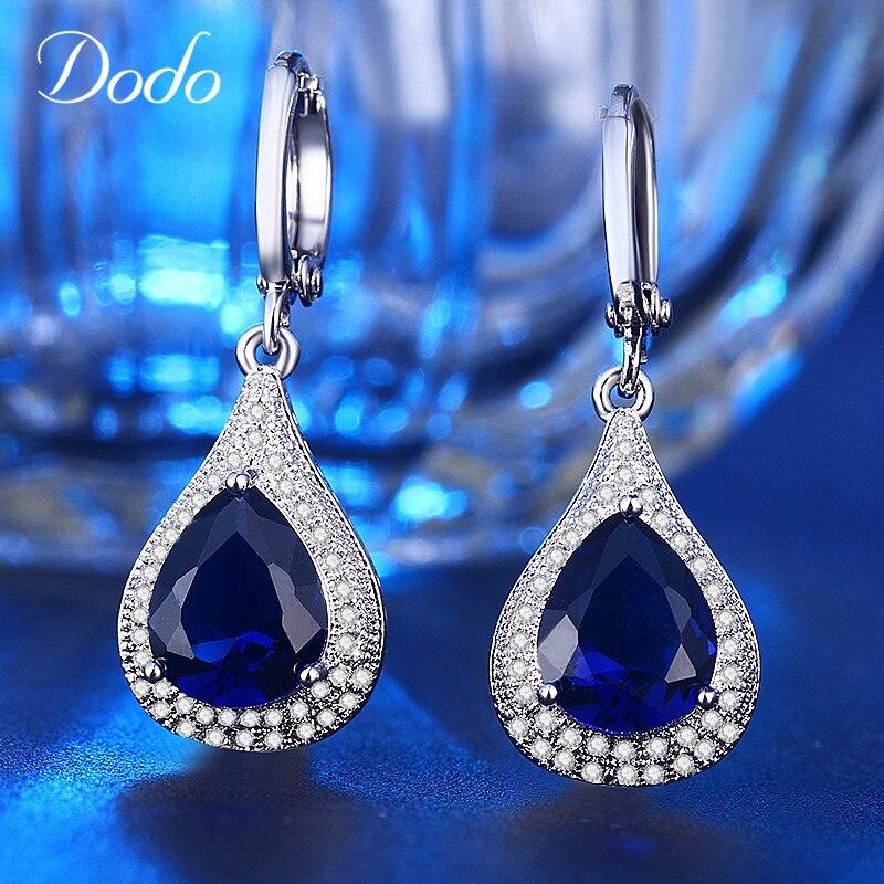 Cercei de bijuterii DODO Femeie Albastru strălucitor Cristal Vintage - Bijuterii de moda - Fotografie 4