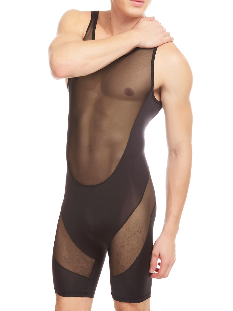 Sex Costumes For Men Male One Piece Sexy Bodybuilding Clothing Transparent Mesh Tight Underwear One-piece Sexy Sleepwear
