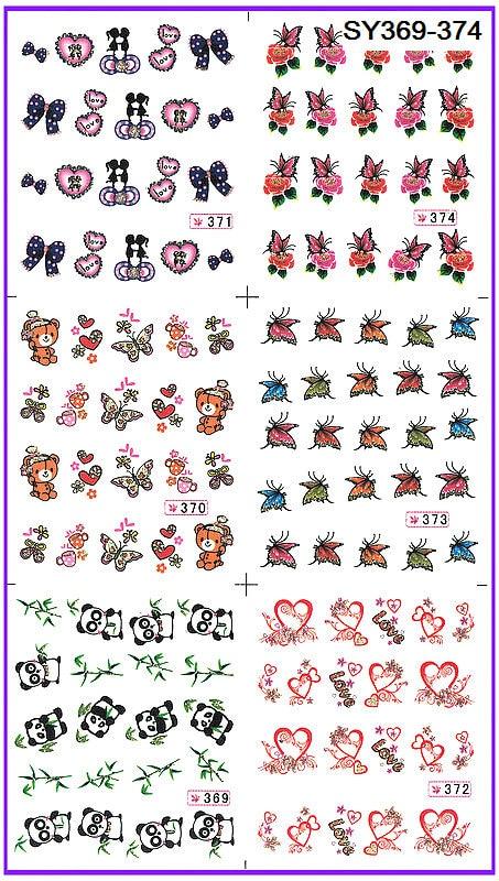 ₪6 pack/lote Glitter AGUA DE LA decala del clavo Art nail sticker ...