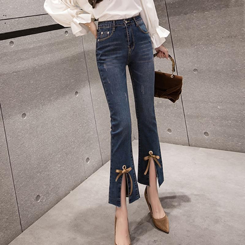 Women's Jeans 2019 Spring Summer High Waist Jeans Womens Boot Cut Pants Denim Trousers Slim Elasticity Jean Ankle-Length Pant