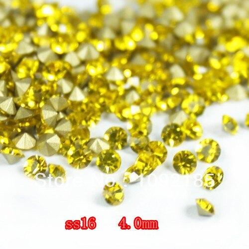 Ss16 ( 3.8 4.0 mm ) citrino cor, 10 gross / lot apontado voltar Chaton Rhinestone para jóias acessório! Frete grátis