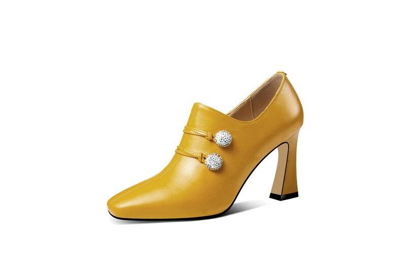 efb64c613f FEDONAS New Style Women High Heels Pumps Genuine Leather Rhinestone Party  Wedding Shoes Soft Leather Spring Autumn Basic Pumps