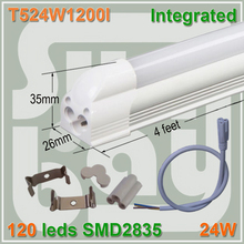 4pcs/lot 120leds high power LED integrated T5 tube 4ft 1200mm 24W SMD2835 surface mounted with accessory