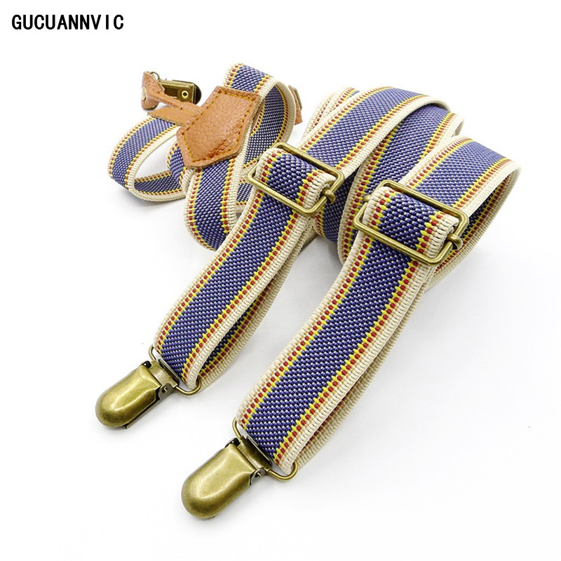 Retro Light Blue Khaki Striped Sling Suspenders Men Women Europe And The United States Cowboy Men Hanging Braces Suspensorio