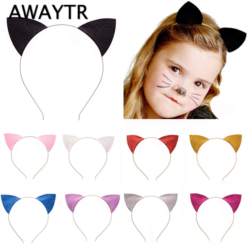 Kids Hairbands for Girls 2017 Cat Ears Hair Band for Women Colorful Shiny Hairband Children Hair Accessories Women Headwear halloween party zombie skull skeleton hand bone claw hairpin punk hair clip for women girl hair accessories headwear 1 pcs