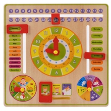 Baby Wooden Toy Children Learning Developmental Multifunction Flap Abacus Wood Clock Kids Intelligence Educational Gift