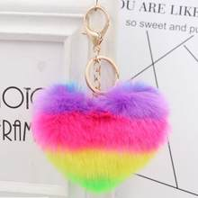 Llaveiro Fluffy pompom Keychain Gifts for Women Soft Heart Shape Pompon Fake Rabbit Key Chain Ball Car Bag Accessories Key Ring(China)