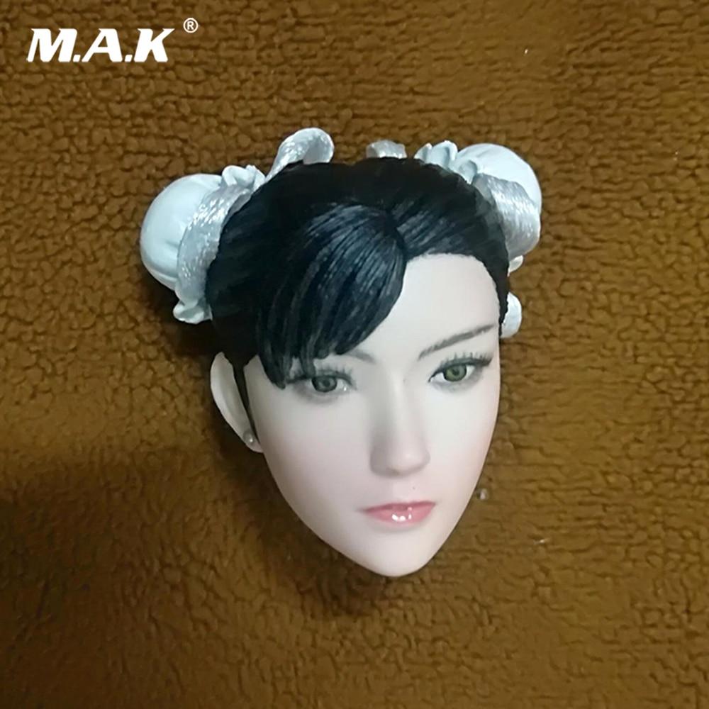 1/6 Asian Head Carving STREET FIGHTER V Chun-Li head scuplt Female Figure Head Asian Girl head For 12