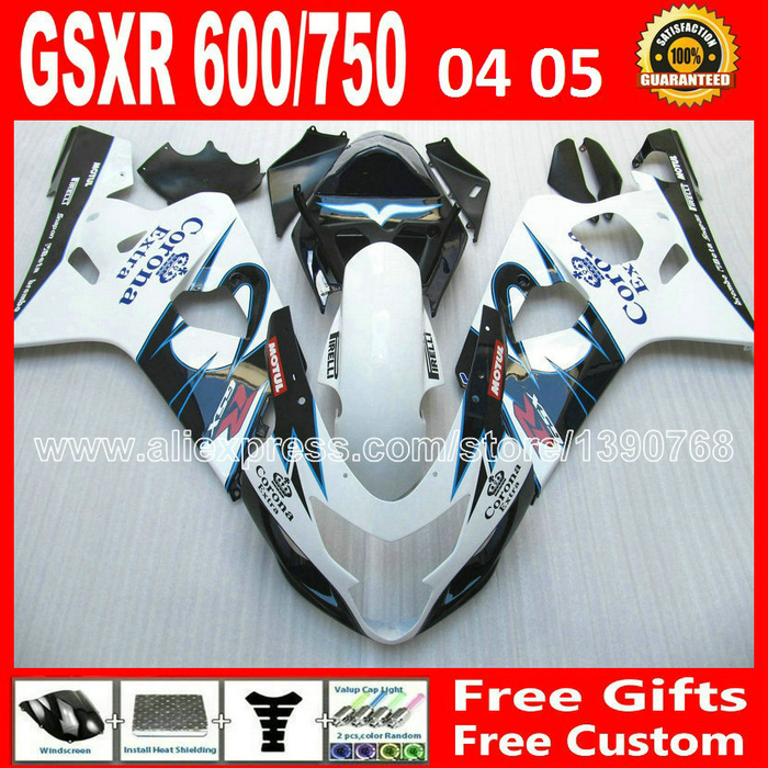Hot sale for 2004 2005 white black light blue SUZUKI GSXR 600 750 fairing K4 RIZLA version gsxr600 EXG GSX R750 04 05 moto 893 for suzuki 2004 2005 white black blue gsxr 600 750 fairing kit k4 gsxr600 qtv 04 05 gsxr750 fairings kits motorcycle 894