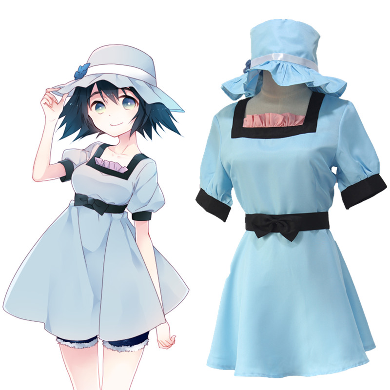 Steins Gate Cosplay Costume Shiina Mayuri Cosplay Costume LabMem No.002 Blue Dresses Anime Outfit Halloween Carnival Party