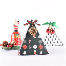 1Piece Christmas candy cookies small gift box triangle origami paper color box placed on the Christmas tree decoration(China)