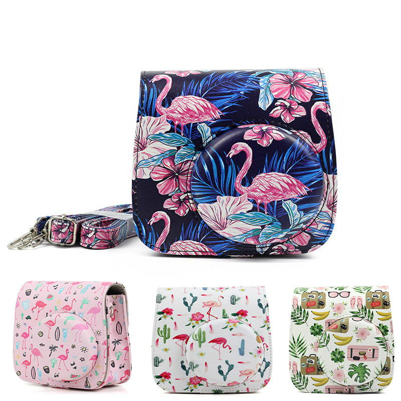 Flamingos Instant Bag Case For Fujifilm Instax Mini 9 8 8 Case Instant PU Pouch Camera