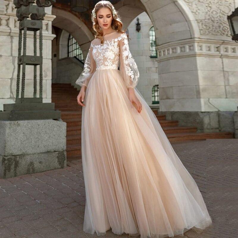 Eightree Lantern Sleeves Wedding Dress Tulle Wedding Gowns Appliques Vestido De Novia Champagne Princess Wedding Dress  Party