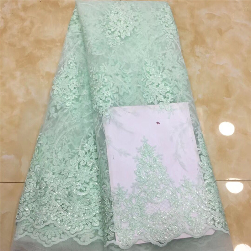 2019 Sequined Embroidered Mesh Lace Fabric For India Women Wedding Dress Tissu African Nigeria Sequins Guipure