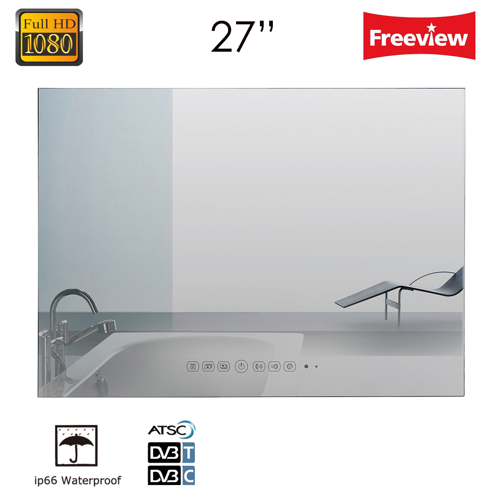 Souria 27 inch Full HD1080 Vanishing Magic Mirror LED Bathroom Hotel Luxury TV Wall Mounted Shower Box Water Resistant ...