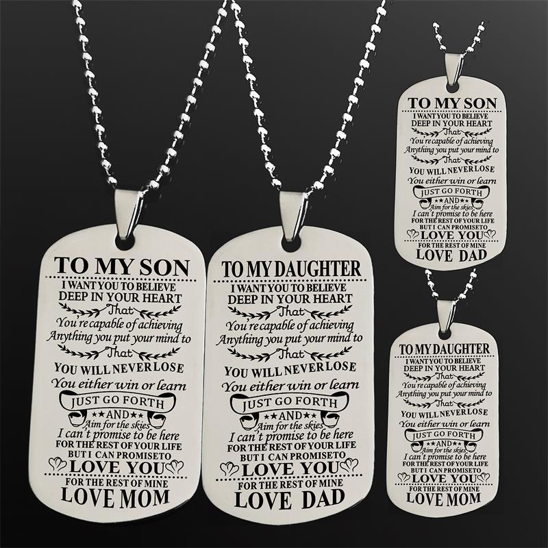 To My Son Daughter I Want You To Believe Love Dad Mom Stainless Steel Dog Tag Pendant Military Necklace Beads Chain