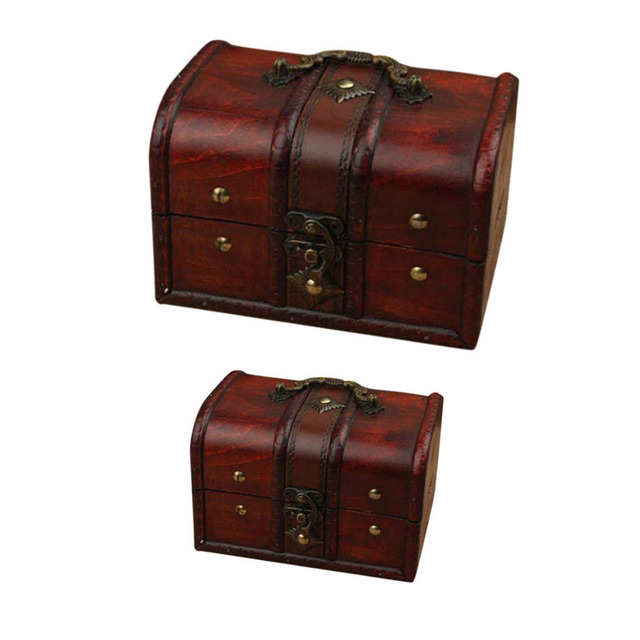 Us 938 35 Offmayitr 2pcs Vintage Wooden Jewelry Storage Box Small Treasure Chest Wood Crate Case For Home Craft Storage Container In Storage Boxes