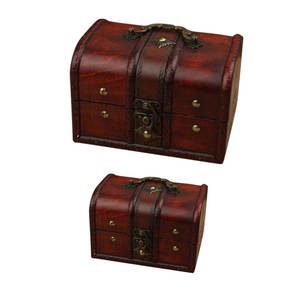 Mayitr Crate-Case Storage-Box Treasure Chest Wooden Small Vintage Jewelry 2pcs for Home-Craft