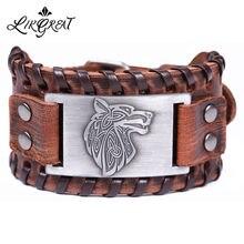 Кожаные браслеты likgreat для мужчин винтажный античный серебряный