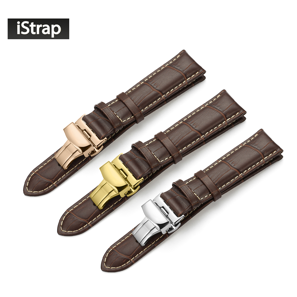 iStrap Brown Embossed Alligator Grain Genuine Leather Watch Band Strap Replacement Bracelet Butterfly Clasp for IWC Oris Omega istrap 20mm 21mm 22mm black brown high quality watchband crocodile leather watch strap replacement watch band for iwc