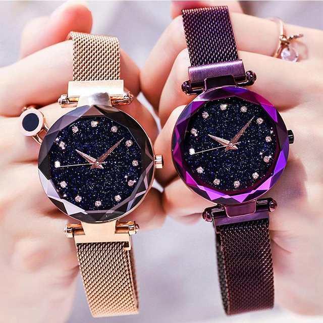 29b6bf2943f Céu Estrelado Malha Magnética de luxo Subiu Mulheres Relógio de Ouro Banda  relógio de Pulso de Quartzo Diamante Relógios relogio feminino montre femme  2018 ...