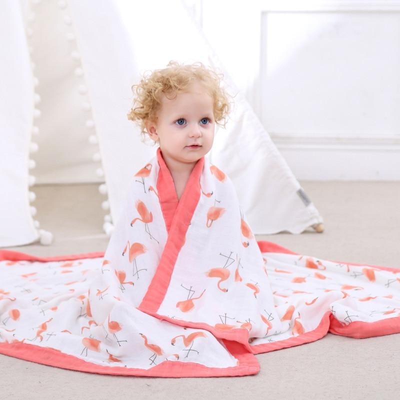 Quatro Camadas 70% de Bambu 30% Algodão Cobertor Do Bebê Recém-nascido de Musselina Panos Super Confortável Cama Cobertores Swaddle Envoltório Toalha de Banho
