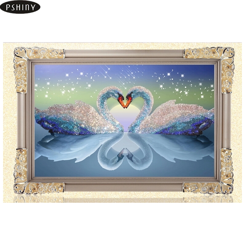 Pshiny 5D DIY Berlian Lukisan Kit Transparan Putaran Menarik Berlian bordir Swan Cross Stitch gambar Mosaik Swans in Love ...