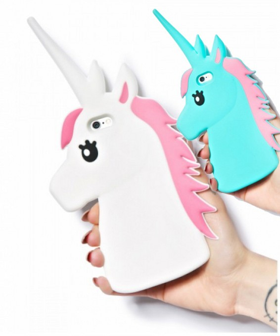 Silicone Cartoon Cover New Case Rubber Unicorn Soft 3D Cute IPhone 4 4S 5 5S 5C 6 6S 4.7 66S Plus 5.5 White Horse Cases  -  tenoch commercial store