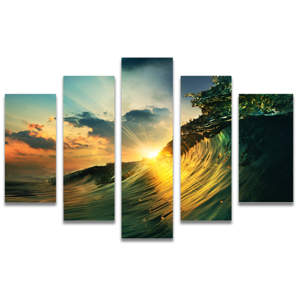 Unframed Canvas Painting Waves Sunlight Photo Picture Prints Wall Picture For Living Room Wall Art Decoration