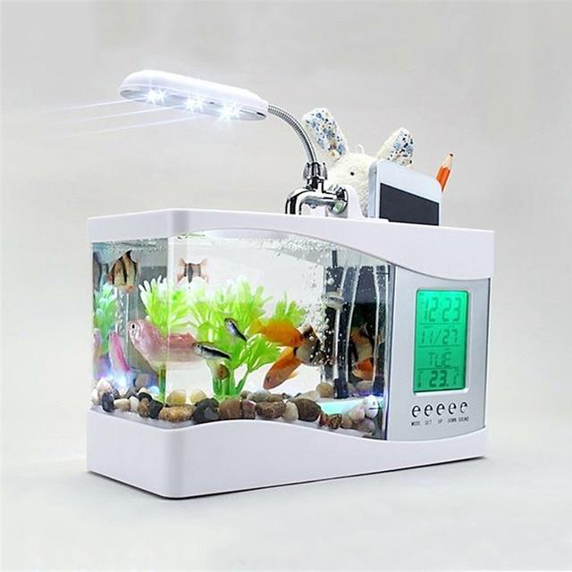 2017 популярные usb Настольный мини рыбы в аквариуме стекло ЖК-дисплей таймер часы лампа Светодиодная черный/белый светодиод аквариум для Рыбок