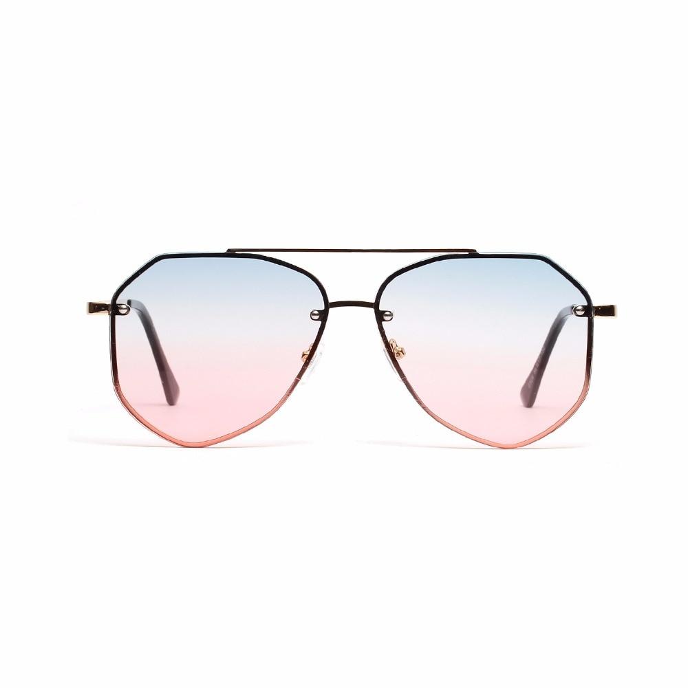 Men Women Retro Round Sunglasses Ladies Brand Designer Luxury Metal Color Pink Vintage Mirror Polygonal Oversize Sun Glasses