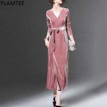 Plamtee элегантное праздничное платье женские пикантные вечерние велюр Для женщин Платья для женщин повязку плюс Размеры Vestidos Макси осень-зима elbise 2017