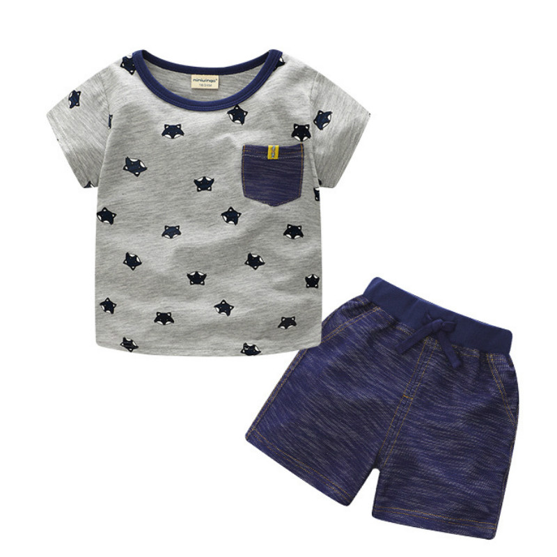 Boutique Kids clothes Summer Baby Boy Clothes toddler Boys Cotton clothing Sets 2018 New Children Cartoon fox Suit T shirt summer baby boys clothing set cotton animal print t shirt striped shorts sports suit children girls cartoon clothes kids outfit