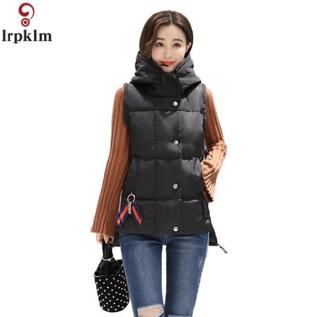 00a4683a8b3 Women Winter Vests 2017 New Lightweight Slim Short Vest Cotton Padded  Jacket Sleeveless Female Hooded Waistcoat Vest LZ237