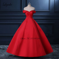 Liyuke Vestido De Noiva Chinese Red Ball Gown Wedding Dress 395 Satin With Sweetheart Off The