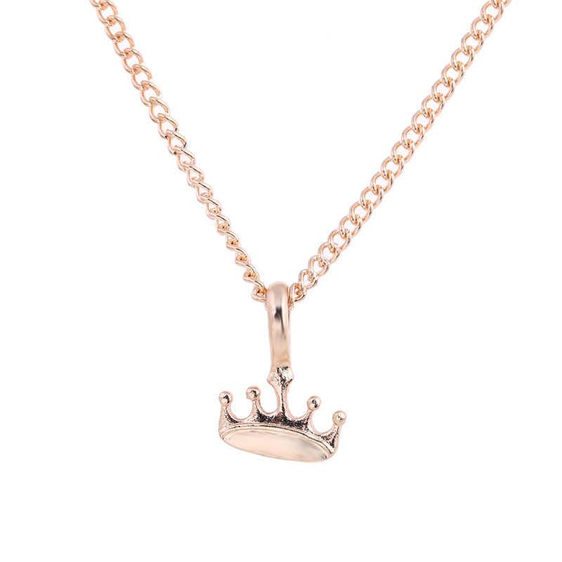 New Gold-color Princess You Rule Crown Alloy Clavicle Bones Pendant Short Chocker Necklace