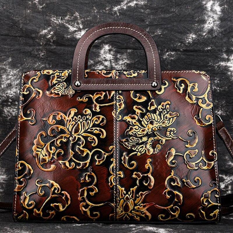 High Quality Women Genuine Leather Shoulder Top Handle Bag Handbag Embossed Vintage Briefcase Real Cowhide Tote