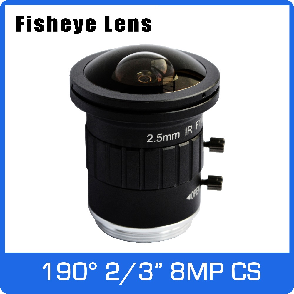 4K Fisheye Lens CS Mount 8Megapixel 2/3 Inch 190 Degree 2.5mm Fixed For CCTV 4K Camera Free Shipping 8megapixel varifocal cctv 4k lens 1 1 8 inch 3 6 10mm cs mount dc iris for sony imx178 imx274 box camera 4k camera free shipping