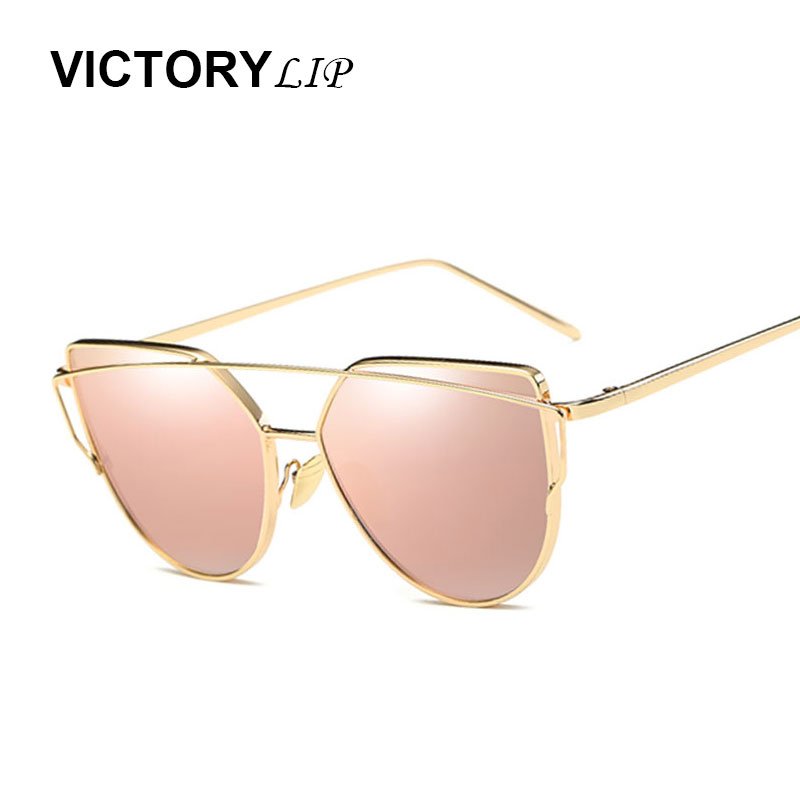 VictoryLip Women Brand Designer Cat Eye Mirror Sunglasses Rose Gold super star Lady Fashion Sun Glasses Female 2017 Newest
