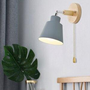 Image 2 - Da parete in legno luci da comodino lampada da parete con interruttore a parete sconce applique da parete moderno per camera da letto soggiorno Nordic macaron sterzo h