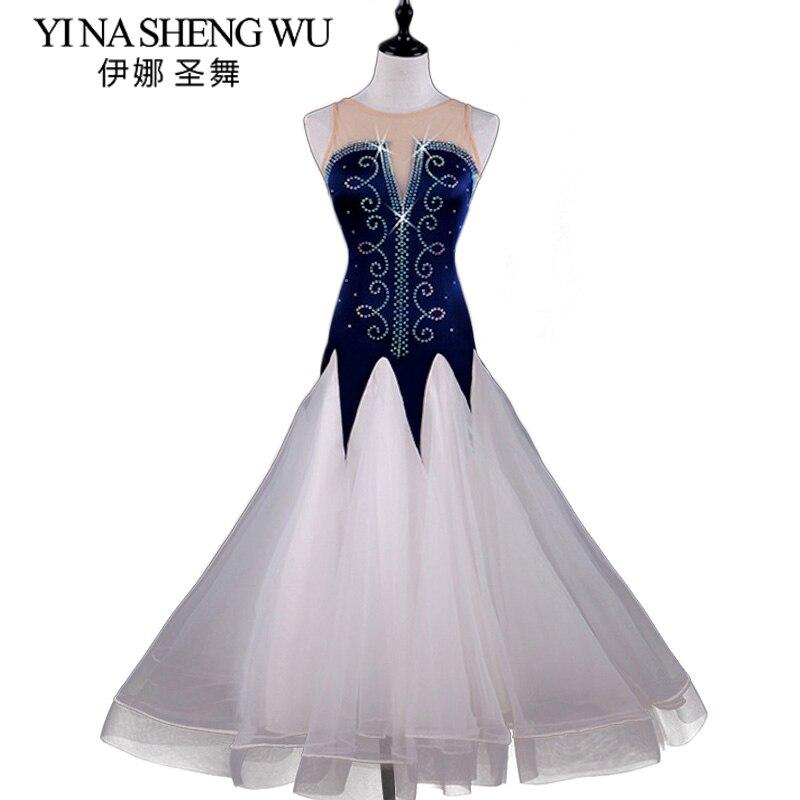Adultes femmes sans manches diamant moderne danse robe salle de bal danse Costume femme adulte nouveau National Standard danse robe valse
