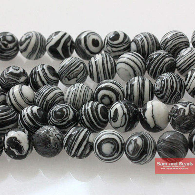 Free Shipping Synthetic Black Lace Malachite Beads 16 Pick Size 4 6 8 10 12mm For Bracelet Necklace Making BLMB01