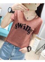 NiceMix 2019 short sleeve women new t-shirt fashion loose females tee tops letter casual tshirt feminino korean clothing sequin