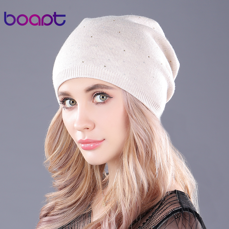 [boapt] soft cashmere knitted folds thick warm winter hats for women's caps   skullies     beanies   female fashion female casual hat